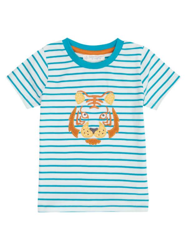 Tricou bumbac organic Turquoise Stripes Tiger