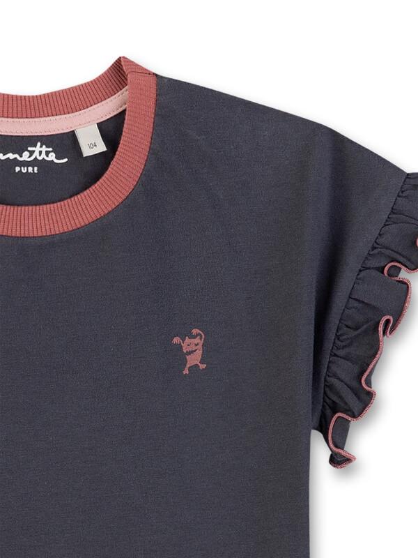 Tricou cu mâneci cu volan Sanetta Pure, gri