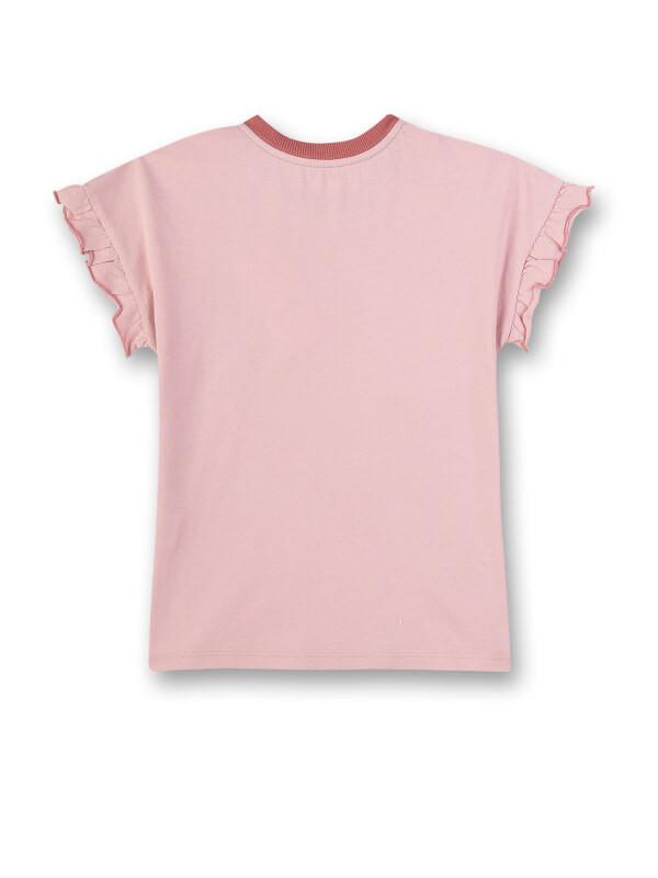 Tricou cu mâneci cu volan Sanetta Pure, roz