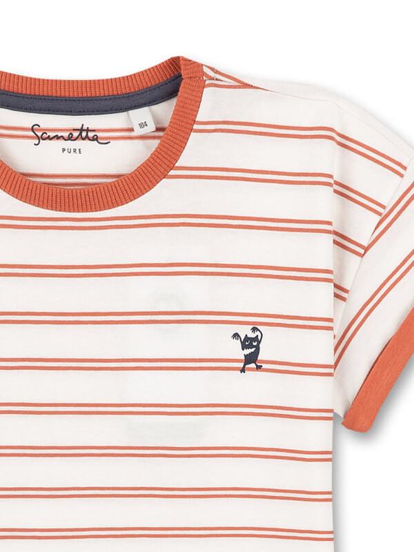 Tricou dungi portocalii, bumbac organic Sanetta Pure