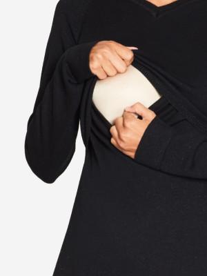 Bluză sarcină şi alăptare Lulu Black, amestec lână
