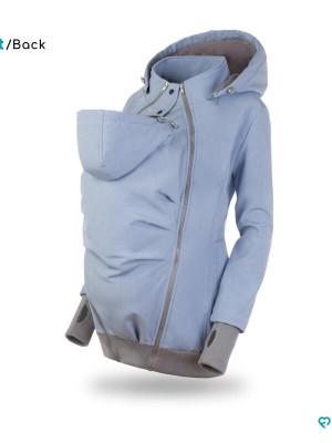 Jachetă pentru sarcină şi babywearing 3în1, din softshell, Baby Blue