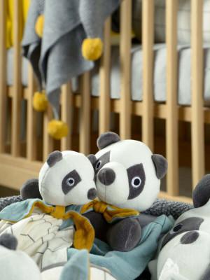 Jucărie pentru prindere suzetă Panda, bumbac organic