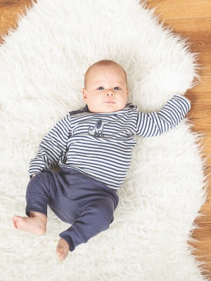Pantaloni bebe Karli Waffle Blue Grey