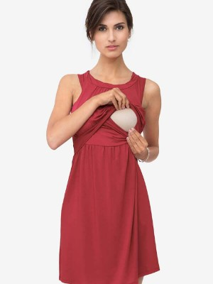 Rochie roşie pentru sarcină şi alăptare Zoo