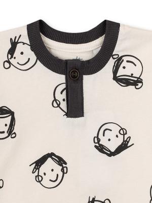 Tricou băieţi Sanetta, Off White imprimeu copii