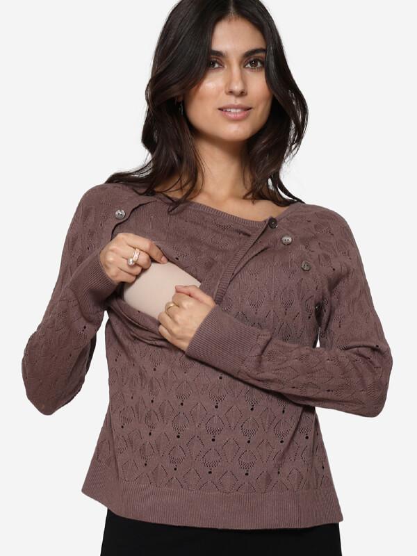 Bluză sarcină şi alăptare Lilo maro, amestec lână
