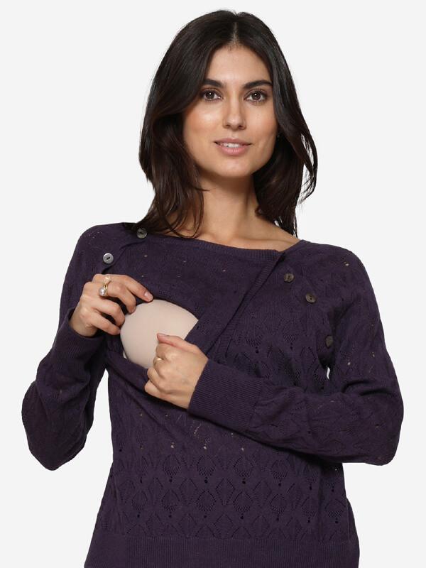 Bluză sarcină şi alăptare Lilo mov, amestec lână