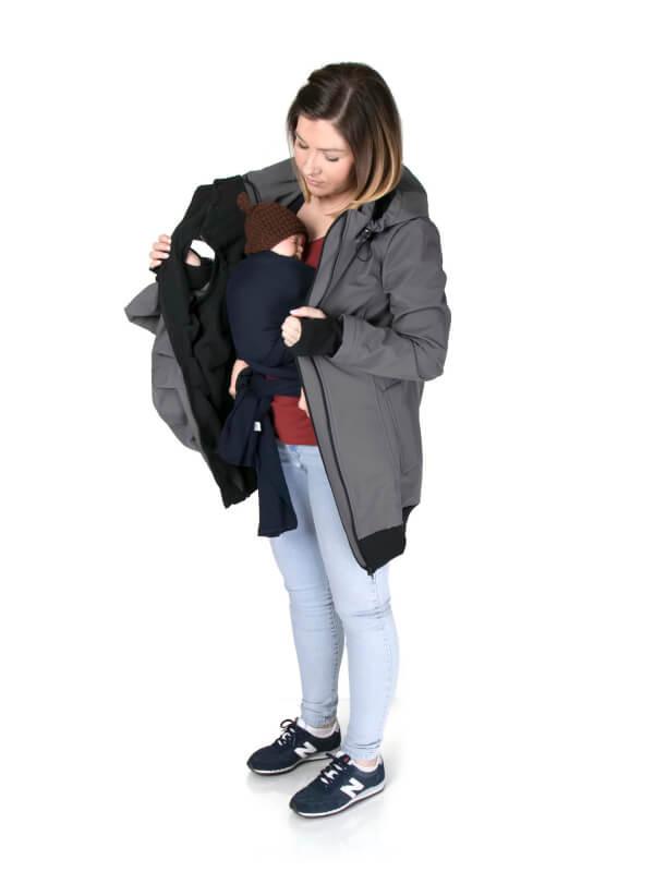 Jachetă sarcină/babywearing 5 în 1 Softshell Graphite