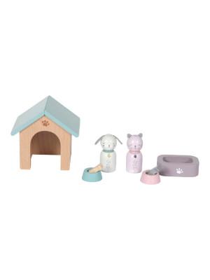Accesorii lemn căsuţă păpuşi – Câine şi pisică