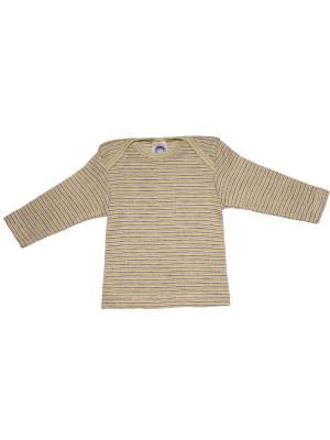 Bluză amestec bumbac, lână şi mătase, verde-mov