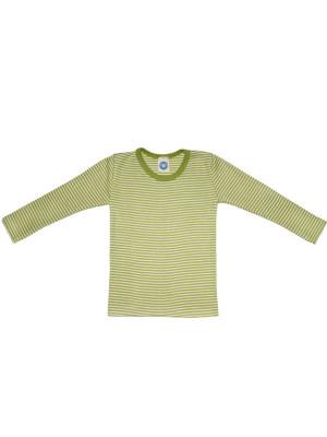Bluză copii lână şi mătase, dungi verzi