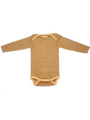 Body mânecă lungă, lână şi mătase Yellow Plum
