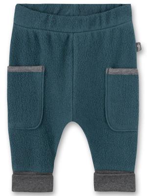 Pantaloni bebe din fleece Sanetta Pure, albastru petrol