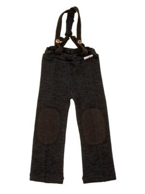 Pantaloni bretele lână merinos Hazel Foggy