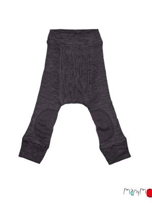 Pantaloni dublaţi lână merino Longies Patches Foggy Black