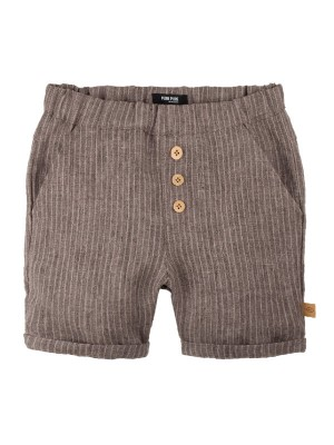 Pantaloni scurţi din in Brown