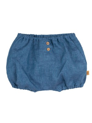 Pantaloni scurţi din in Storm Blue