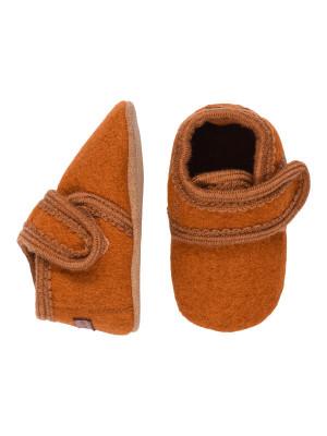 Papuci casă copii, lână Rust