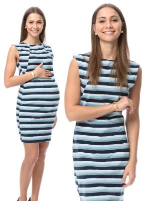 Rochie sarcină şi alăptare Gioia, imprimeu cu dungi