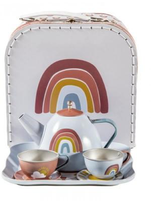 Serviciu metalic pentru ceai în cutie cu mâner