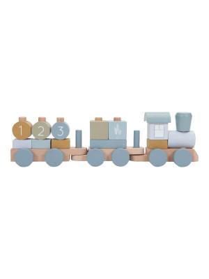Trenuleţ lemn cu forme pentru stivuire Ocean Blue