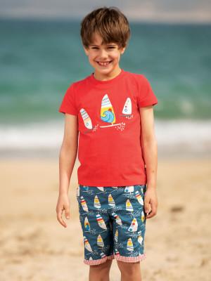 Tricou băieţi Stanley Boats, roşu