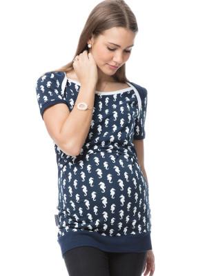 Tricou sarcină şi alăptare Sea, imprimeu căluţi de mare