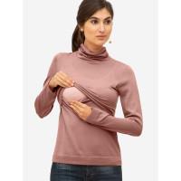Bluză sarcină şi alăptare Ayodele roz, lână merino