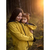 Jachetă pentru sarcină şi babywearing 3în1, din softshell, Mustard