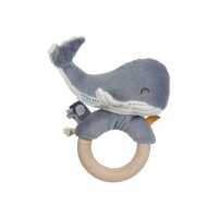 Jucărie zornăitoare cu inel din lemn Balena Ocean Blue