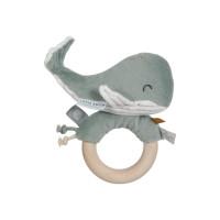 Jucărie zornăitoare cu inel din lemn Balena Ocean Mint