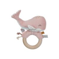 Jucărie zornăitoare cu inel din lemn Balena Ocean Pink