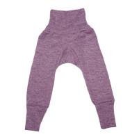 Pantaloni cu talie înaltă, lână, bumbac şi mătase, mov