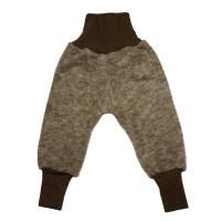 Pantaloni lână fleece şi bumbac Brown Melange