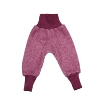Pantaloni lână fleece şi bumbac Burgundy Melange
