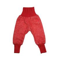Pantaloni lână fleece şi bumbac Red Melange