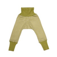 Pantaloni lungi lână şi mătase, verde dungi
