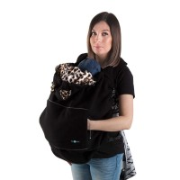Protecţie babywearing din fleece Black, animal print