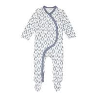 Salopetă pijama bumbac organic Valo Penguin Stone Blue