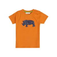 Tricou bumbac organic Turquoise Orange Rhino