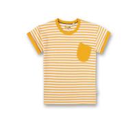 Tricou cu dungi galbene şi buzunar