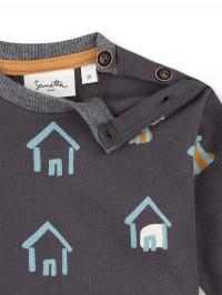 Bluză bebe Sanetta Pure, imprimeu căsuţe