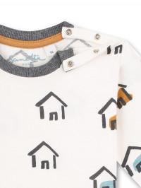 Bluză casual băieţi Sanetta Pure, imprimeu căsuţe