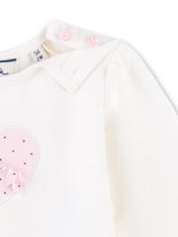 Bluză mânecă lungă bebe, aplicaţie inimioară