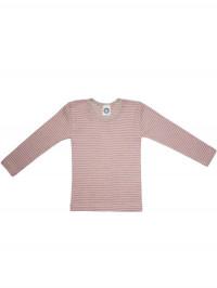 Bluză mânecă lungă bumbac organic, lână şi mătase, gri-roz