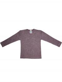 Bluză mânecă lungă bumbac organic, lână şi mătase, mov