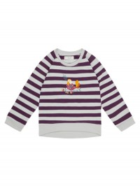 Bluză mânecă lungă Leotie Purple Grey Stripes