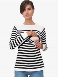 Bluză sarcină şi alăptare Elvira, dungi negre