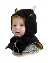 Cagulă din fleece pentru bebe Black Yellow